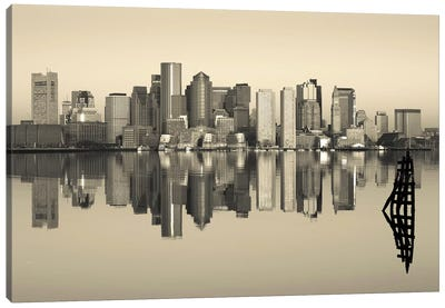 Reflection of buildings in water, Boston, Massachusetts, USA Canvas Art Print
