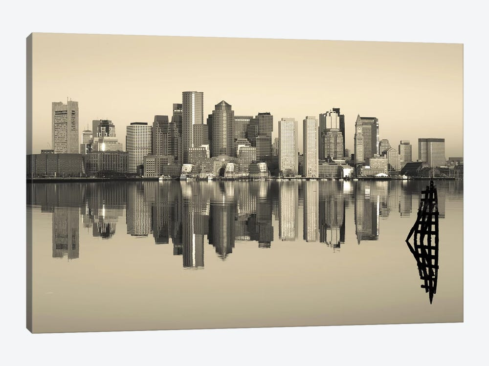 Reflection of buildings in water, Boston, Massachusetts, USA by Panoramic Images 1-piece Canvas Wall Art
