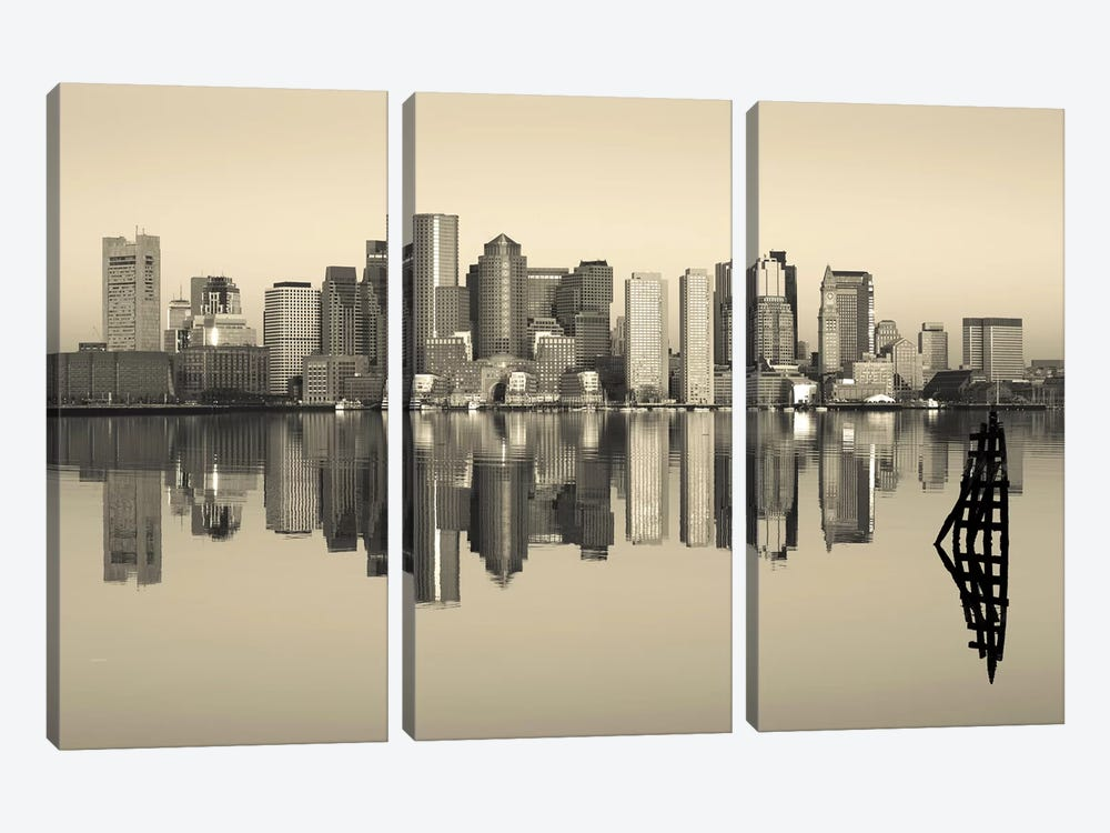 Reflection of buildings in water, Boston, Massachusetts, USA by Panoramic Images 3-piece Canvas Wall Art