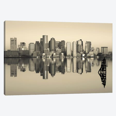 Reflection of buildings in water, Boston, Massachusetts, USA Canvas Print #PIM8246} by Panoramic Images Canvas Artwork