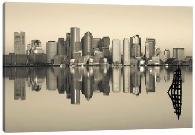Reflection of buildings in water, Boston, Massachusetts, USA Canvas Art Print