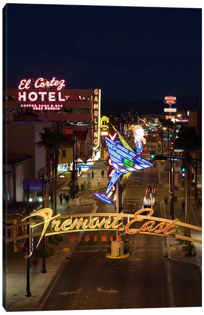 Neon casino signs lit up at dusk, El Cortez, Fremont Street, The Strip, Las Vegas, Nevada, USA Canvas Art Print