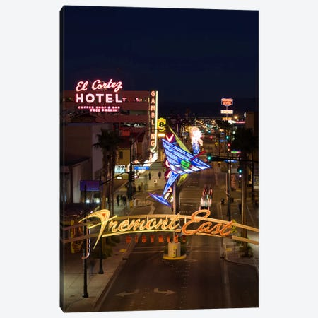 Neon casino signs lit up at dusk, El Cortez, Fremont Street, The Strip, Las Vegas, Nevada, USA Canvas Print #PIM8247} by Panoramic Images Canvas Artwork