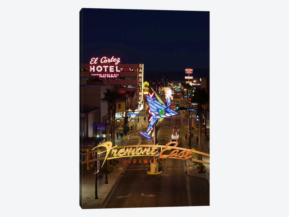 Neon casino signs lit up at dusk, El Cortez, Fremont Street, The Strip, Las Vegas, Nevada, USA by Panoramic Images 1-piece Canvas Print