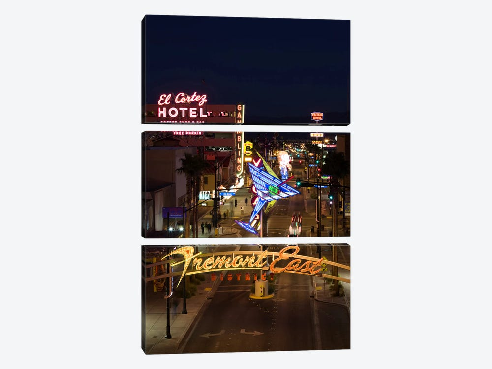 Neon casino signs lit up at dusk, El Cortez, Fremont Street, The Strip, Las Vegas, Nevada, USA by Panoramic Images 3-piece Canvas Art Print