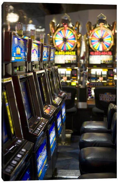 Slot machines at an airport, McCarran International Airport, Las Vegas, Nevada, USA Canvas Print #PIM8248