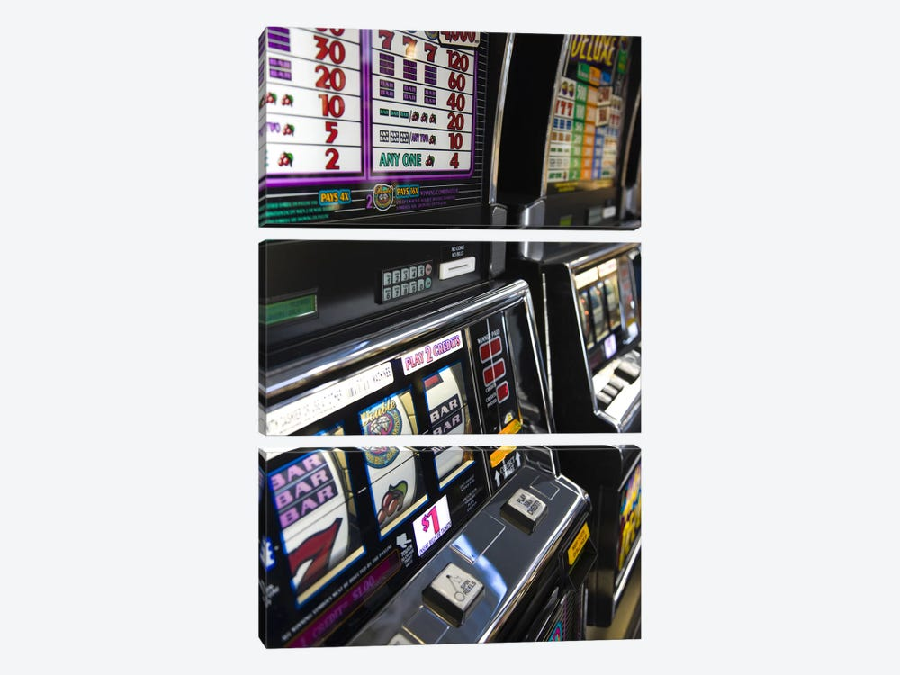 Slot machines at an airport, McCarran International Airport, Las Vegas, Nevada, USA #2 by Panoramic Images 3-piece Canvas Print