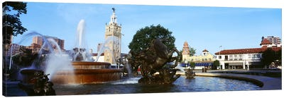 Fountain in a city, Country Club Plaza, Kansas City, Jackson County, Missouri, USA Canvas Print #PIM8251