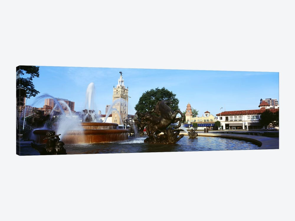 Fountain in a city, Country Club Plaza, Kansas City, Jackson County, Missouri, USA by Panoramic Images 1-piece Canvas Artwork