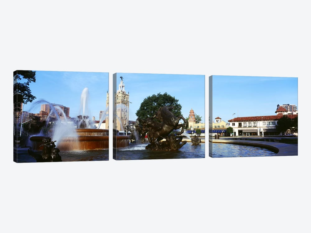 Fountain in a city, Country Club Plaza, Kansas City, Jackson County, Missouri, USA by Panoramic Images 3-piece Canvas Artwork
