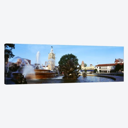 Fountain in a city, Country Club Plaza, Kansas City, Jackson County, Missouri, USA Canvas Print #PIM8251} by Panoramic Images Canvas Wall Art