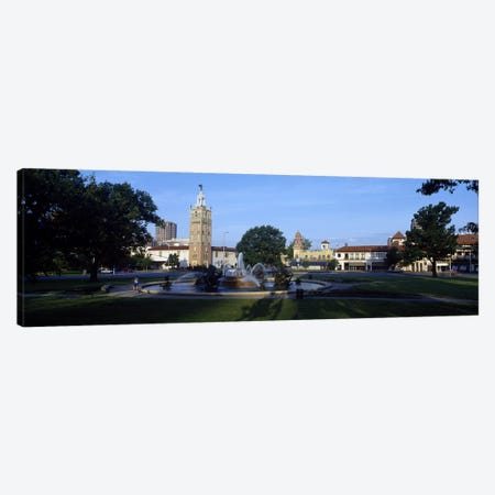 Fountain in a city, Country Club Plaza, Kansas City, Jackson County, Missouri, USA #2 Canvas Print #PIM8252} by Panoramic Images Canvas Wall Art