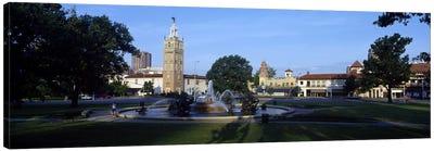 Fountain in a city, Country Club Plaza, Kansas City, Jackson County, Missouri, USA #2 Canvas Print #PIM8252