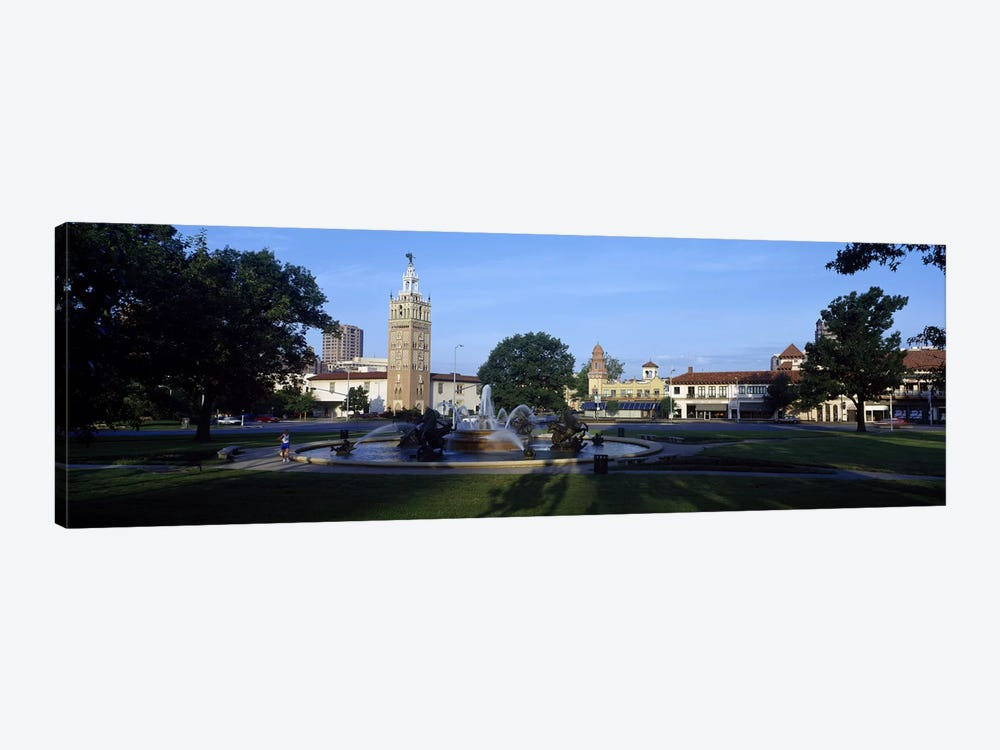 Fountain in a city, Country Club Plaza, Kansas City, Jackson County, Missouri, USA #2 by Panoramic Images 1-piece Art Print