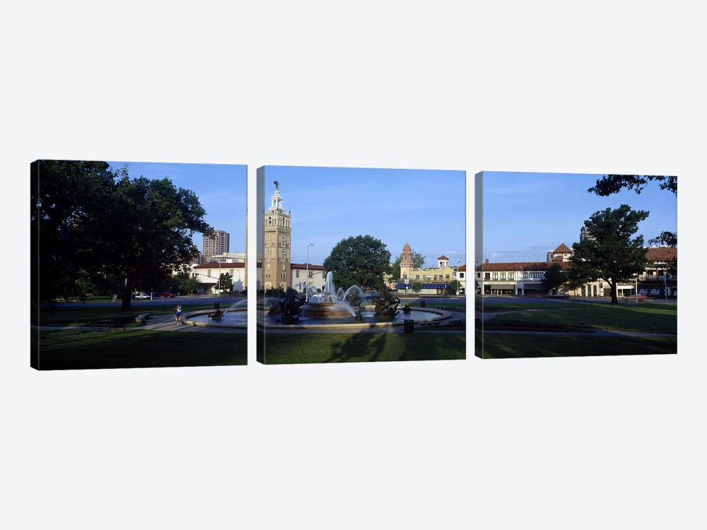 Fountain in a city, Country Club Plaza, Kansas City, Jackson County, Missouri, USA #2 by Panoramic Images 3-piece Canvas Art Print
