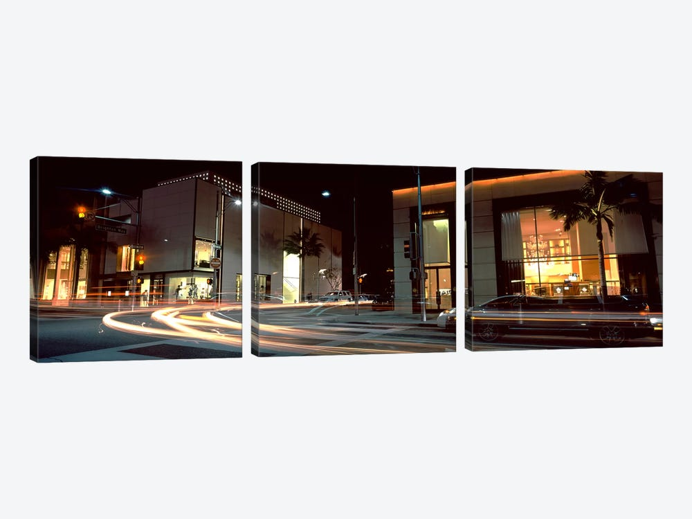 Traffic on the road, Rodeo Drive, Beverly Hills, Los Angeles County, California, USA by Panoramic Images 3-piece Art Print