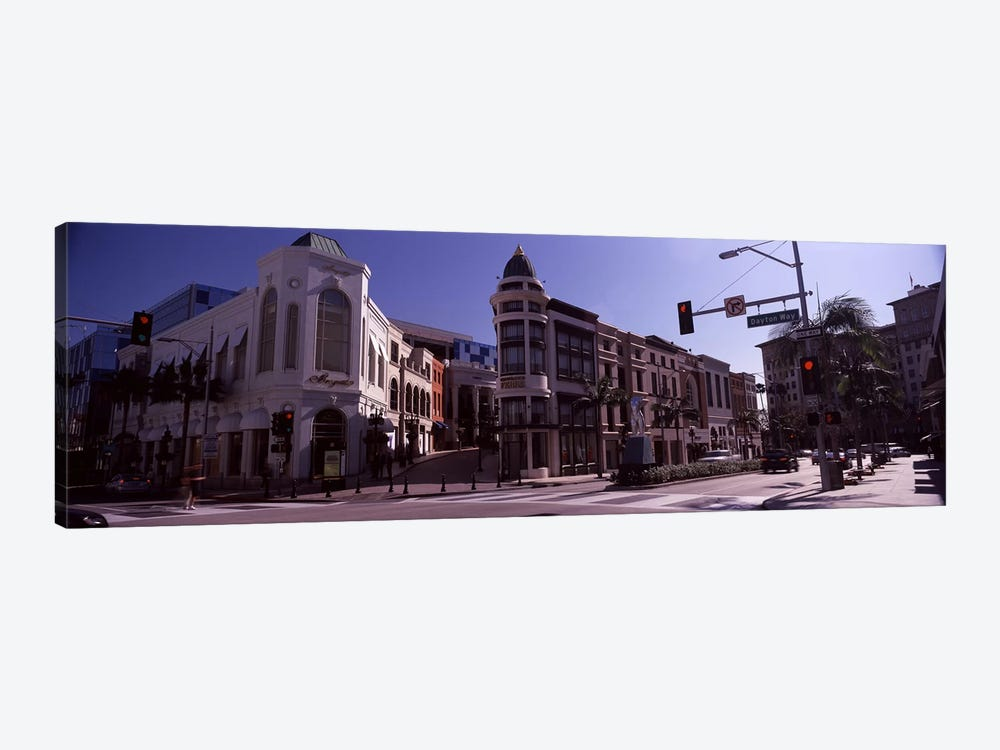 Buildings along the road, Rodeo Drive, Beverly Hills, Los Angeles County, California, USA by Panoramic Images 1-piece Canvas Wall Art