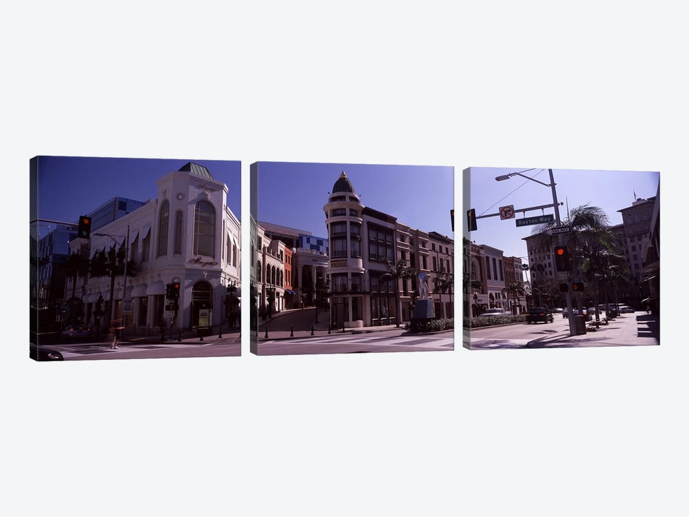 Buildings along the road, Rodeo Drive, Beverly Hills, Los Angeles County, California, USA by Panoramic Images 3-piece Canvas Wall Art