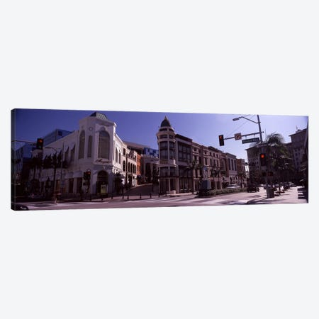 Buildings along the road, Rodeo Drive, Beverly Hills, Los Angeles County, California, USA 3-Piece Canvas #PIM8257} by Panoramic Images Canvas Print