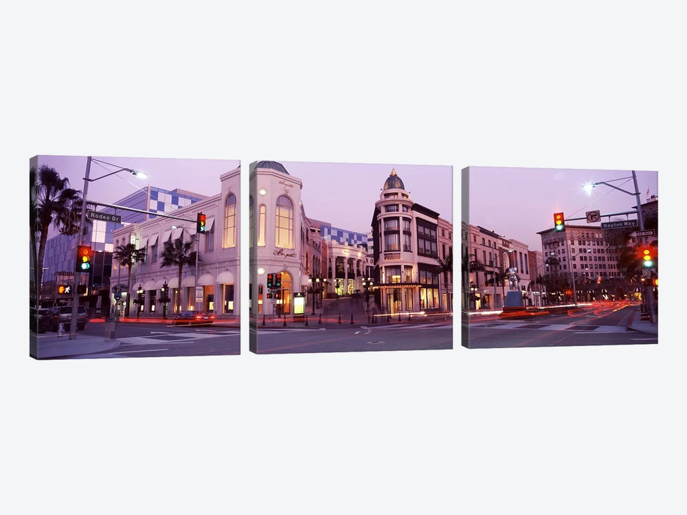 Traffic on the road, Rodeo Drive, Beverly Hills, Los Angeles County, California, USA #2 by Panoramic Images 3-piece Canvas Print