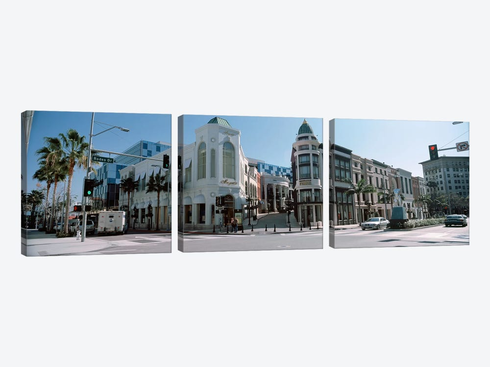 Buildings along the road, Rodeo Drive, Beverly Hills, Los Angeles County, California, USA #2 by Panoramic Images 3-piece Canvas Artwork