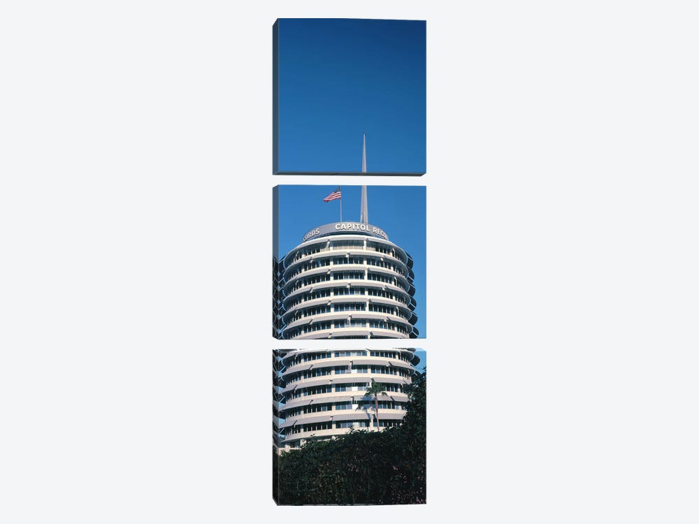 Low angle view of an office building, Capitol Records Building, City of Los Angeles, California, USA by Panoramic Images 3-piece Canvas Wall Art