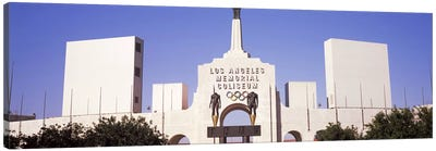 Facade of a stadium, Los Angeles Memorial Coliseum, Los Angeles, California, USA #2 Canvas Art Print
