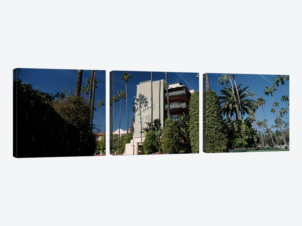 Trees in front of a hotel, Beverly Hills Hotel, Beverly Hills, Los Angeles County, California, USA by Panoramic Images 3-piece Canvas Artwork