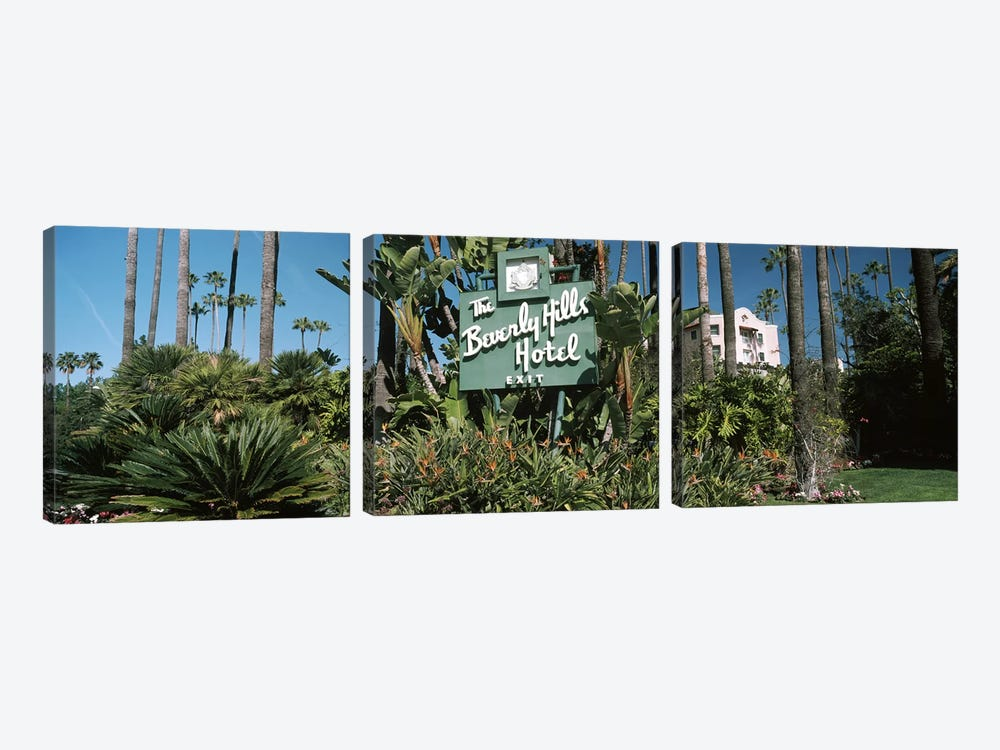 Signboard of a hotel, Beverly Hills Hotel, Beverly Hills, Los Angeles County, California, USA by Panoramic Images 3-piece Canvas Art Print