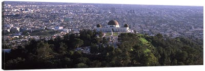 Observatory on a hill with cityscape in the background, Griffith Park Observatory, Los Angeles, California, USA 2010 Canvas Print #PIM8269