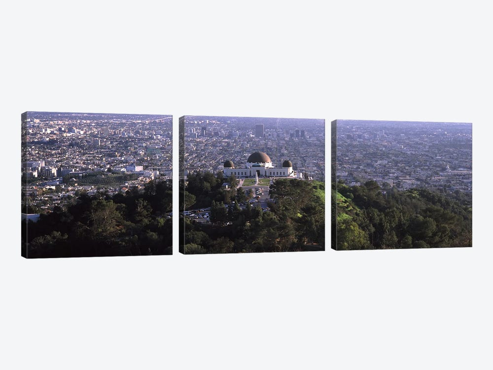 Observatory on a hill with cityscape in the background, Griffith Park Observatory, Los Angeles, California, USA 2010 by Panoramic Images 3-piece Art Print