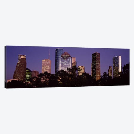 Buildings in a city lit up at duskHouston, Harris county, Texas, USA Canvas Print #PIM826} by Panoramic Images Canvas Print