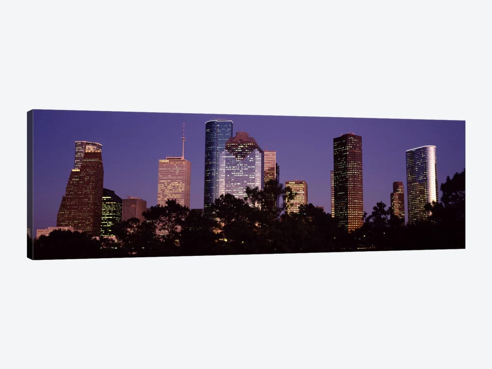 Buildings in a city lit up at duskHouston, Harris county, Texas, USA by Panoramic Images 1-piece Art Print