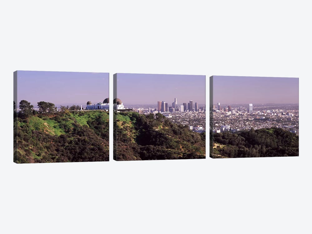 Observatory on a hill with cityscape in the background, Griffith Park Observatory, Los Angeles, California, USA 2010 #2 by Panoramic Images 3-piece Canvas Wall Art