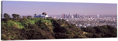 Observatory on a hill with cityscape in the background, Griffith Park Observatory, Los Angeles, California, USA 2010 #2 Canvas Art Print