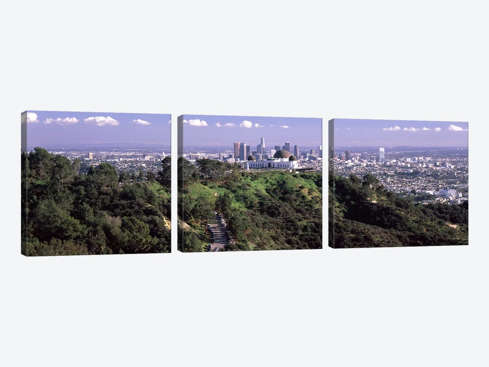 Observatory on a hill with cityscape in the background, Griffith Park Observatory, Los Angeles, California, USA 2010 #3 by Panoramic Images 3-piece Art Print