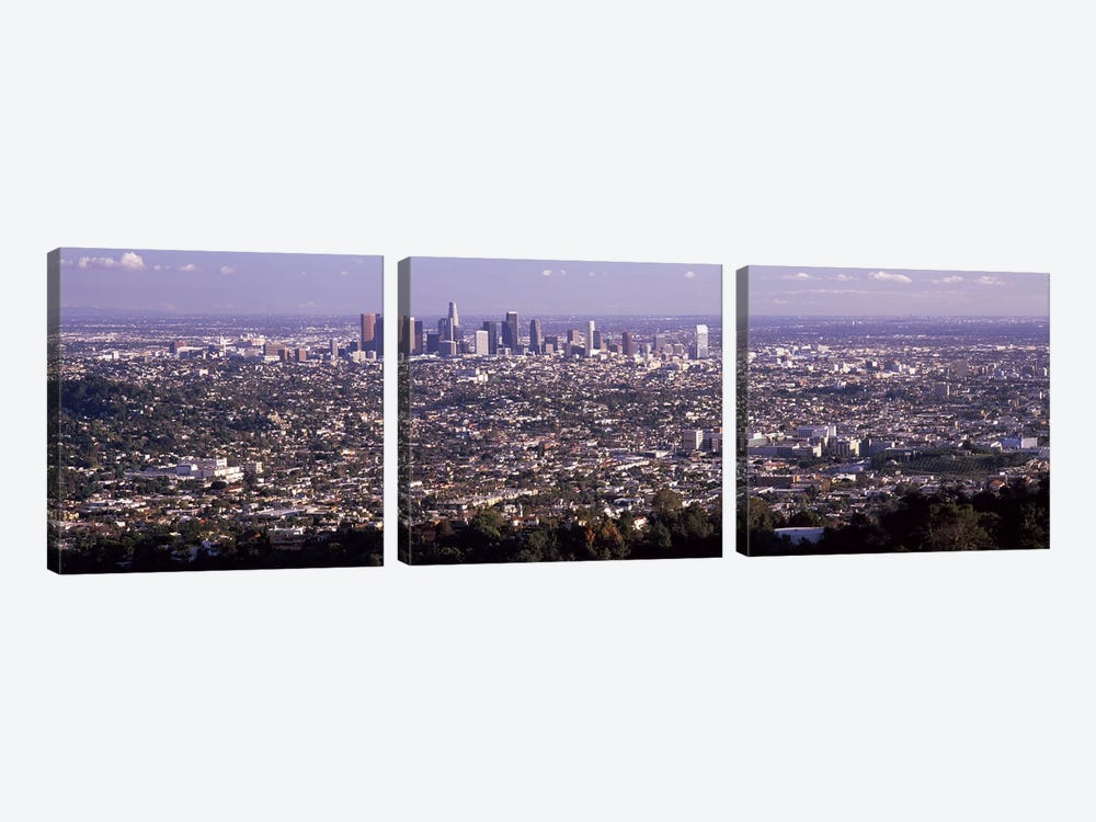 Aerial view of a cityscape, Los Angeles, California, USA 2010 by Panoramic Images 3-piece Canvas Wall Art