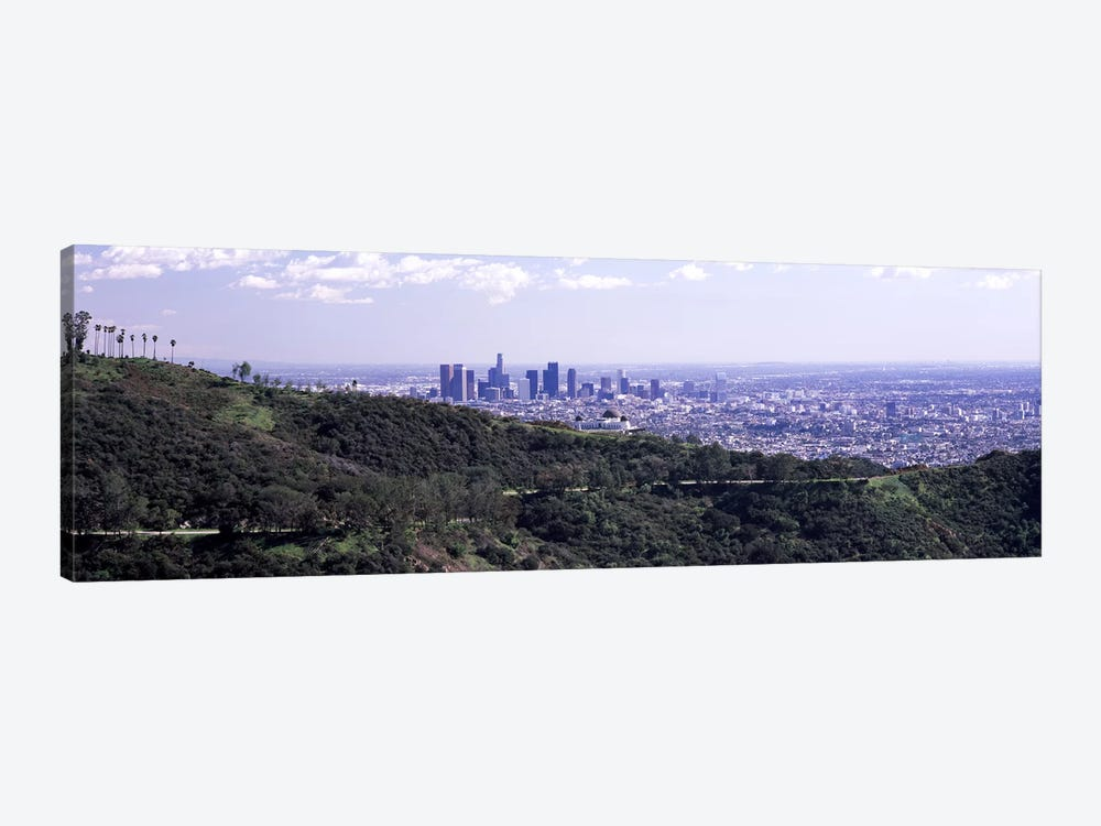 Aerial view of a cityscape, Griffith Park Observatory, Los Angeles, California, USA 2010 by Panoramic Images 1-piece Canvas Art Print