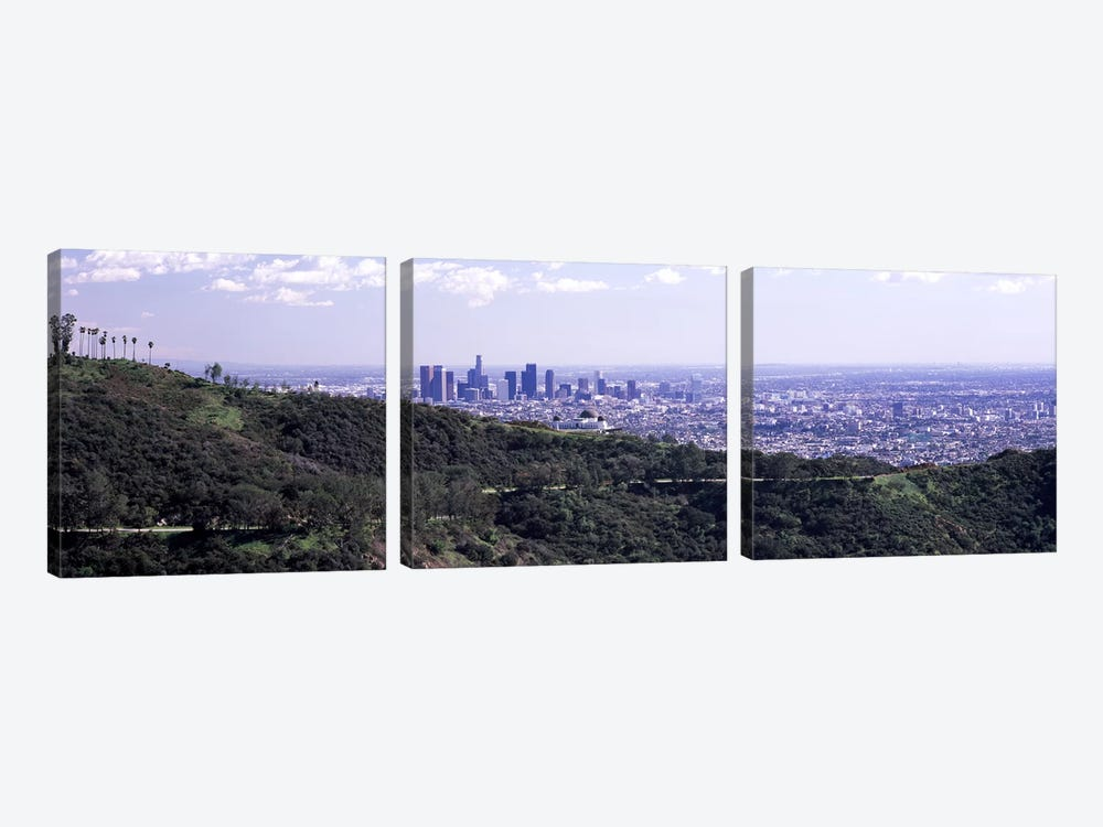 Aerial view of a cityscape, Griffith Park Observatory, Los Angeles, California, USA 2010 by Panoramic Images 3-piece Canvas Art Print