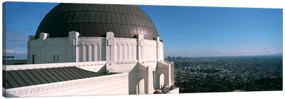 Observatory with cityscape in the background, Griffith Park Observatory, Los Angeles, California, USA 2010 Canvas Art Print