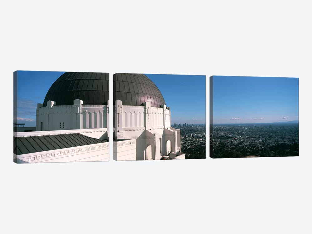 Observatory with cityscape in the background, Griffith Park Observatory, Los Angeles, California, USA 2010 by Panoramic Images 3-piece Canvas Wall Art