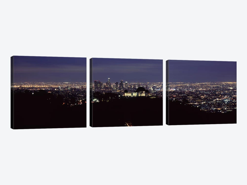Aerial view of a cityscape, Griffith Park Observatory, Los Angeles, California, USA 2010 #2 by Panoramic Images 3-piece Canvas Art Print