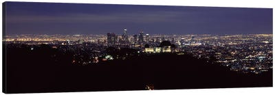 Aerial view of a cityscape, Griffith Park Observatory, Los Angeles, California, USA 2010 #2 Canvas Art Print