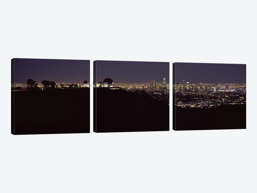City lit up at night, Griffith Park Observatory, Los Angeles, California, USA 2010 by Panoramic Images 3-piece Canvas Artwork