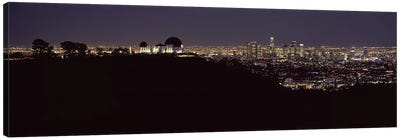 City lit up at night, Griffith Park Observatory, Los Angeles, California, USA 2010 Canvas Art Print