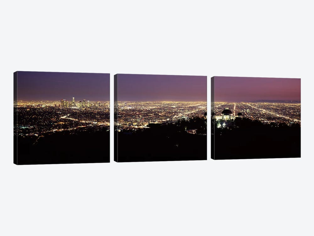 Aerial view of a cityscape, Griffith Park Observatory, Los Angeles, California, USA 2010 #4 by Panoramic Images 3-piece Canvas Art