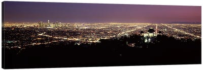 Aerial view of a cityscape, Griffith Park Observatory, Los Angeles, California, USA 2010 #4 Canvas Art Print