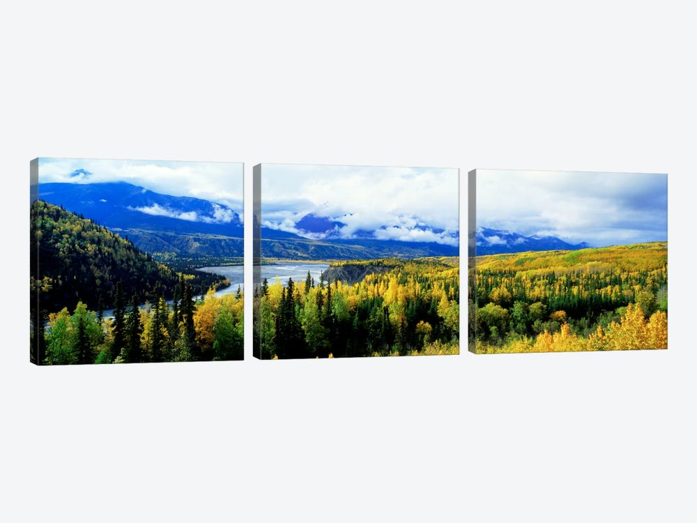 Cloudy Forested Landscape Featuring The Yukon River by Panoramic Images 3-piece Canvas Art