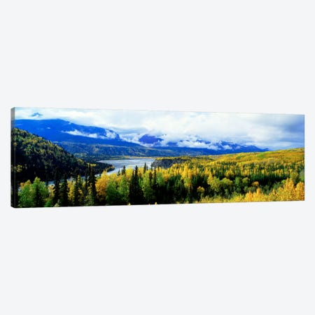 Cloudy Forested Landscape Featuring The Yukon River Canvas Print #PIM827} by Panoramic Images Art Print