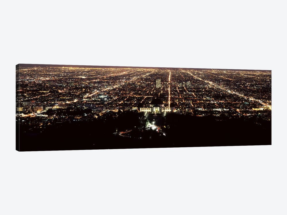 Aerial view of a cityscape, Griffith Park Observatory, Los Angeles, California, USA by Panoramic Images 1-piece Canvas Artwork